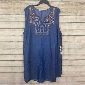 e04177824ee Given Kale • Denim Plus Size Dress with Embroidery